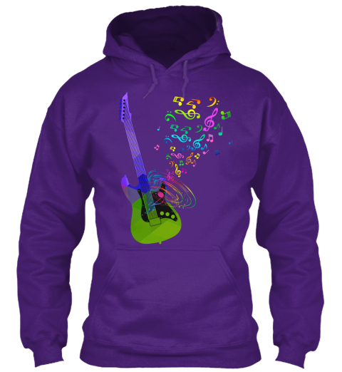 Hoodie Electric Guitar Music Notes Purple Sweatshirt Front