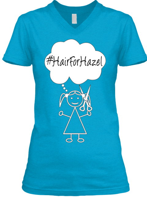 Limited Edition #Hair For Hazel Design Turquoise T-Shirt Front