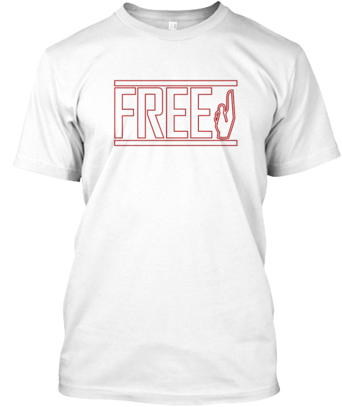 Free Maroon Outline White T-Shirt Front