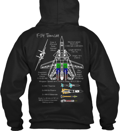 F 14 Tomcat Sweatshirt Back