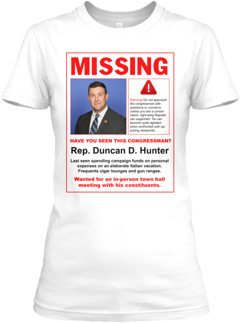 Missing Duncan: Indivisible Ca50 White Women's T-Shirt Front