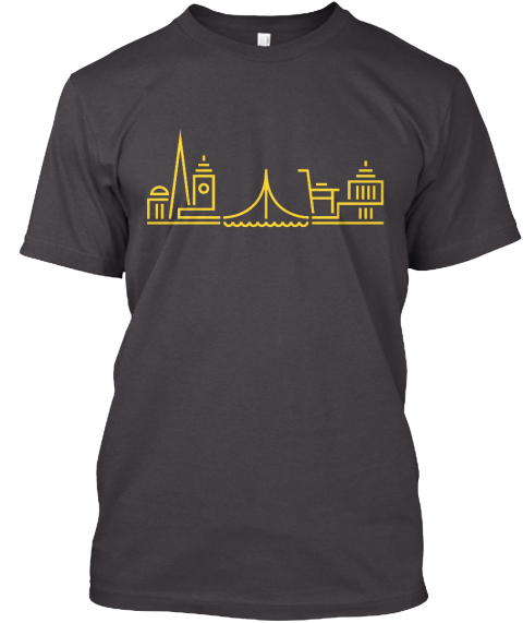 Golden State Tee & Hoodie By Nerdy Hippo Heathered Charcoal  T-Shirt Front
