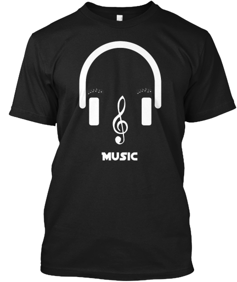 Music Black T-Shirt Front