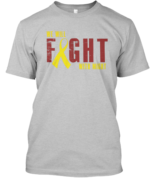 Fight With Might Light Heather Grey  T-Shirt Front