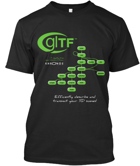 Gltf Khronis Efficiently Describe And Transent Your 3 D Scenes! Black T-Shirt Front