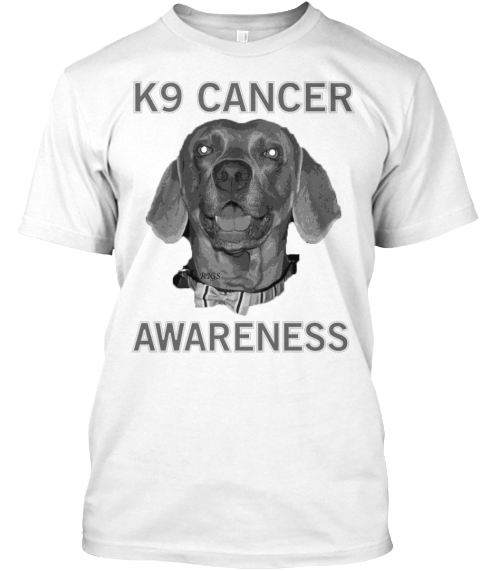 K9 Cancer Awareness White T-Shirt Front