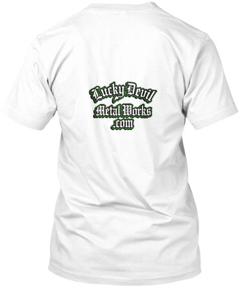 Green Lucky Devil Girl White T-Shirt Back