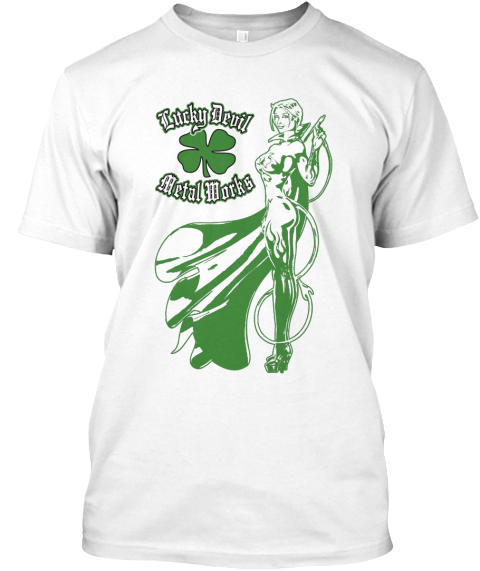 Green Lucky Devil Girl White T-Shirt Front