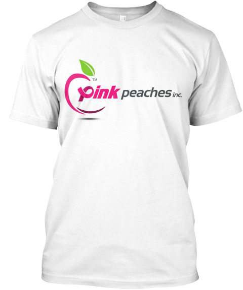 Pink Peaches Logo Short Sleeve White T-Shirt Front
