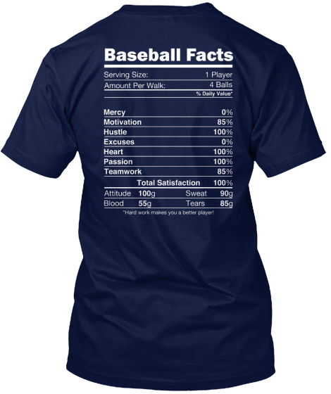 Baseball Facts Mercy Motivation Hustle Excuses Heart Passion Teamwork Total Satisfaction Attitude Blood T-Shirt Back