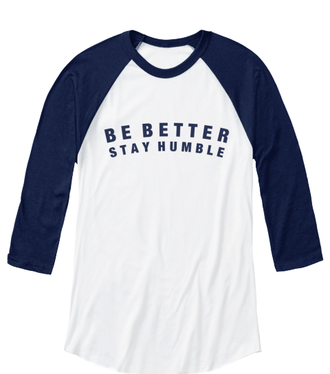 Be Better Stay Number White/Navy Long Sleeve T-Shirt Front