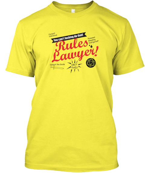 Rules Lawyer! Yellow T-Shirt Front