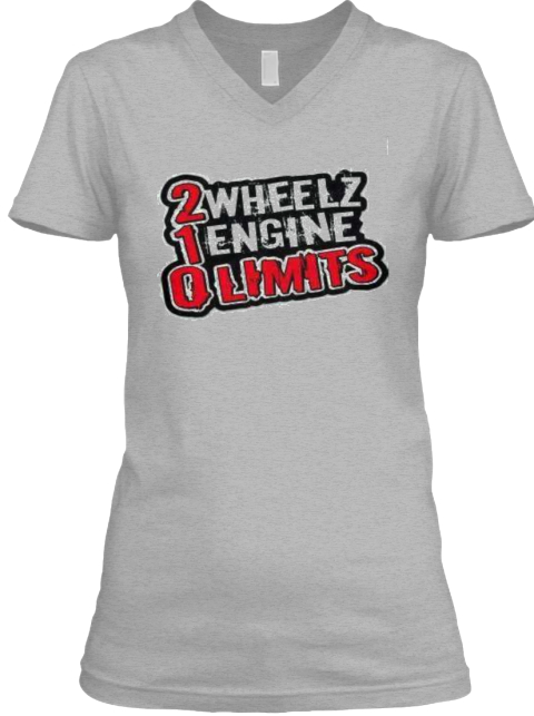 2 Wheelz 1 Engine 0 Limits Athletic Heather T-Shirt Front