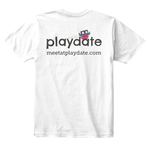 Meetatplaydate.Com White T-Shirt Back