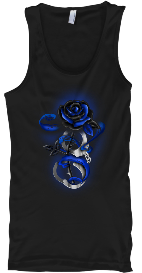 Rose Tattoo Police Thin Blue Lin T Shirt Black T-Shirt Front