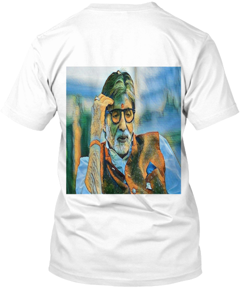 Amitbachan Star Of Indian Cinema White T-Shirt Back