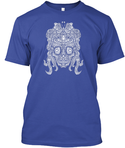 Female Sugar Skull Art  Deep Royal T-Shirt Front