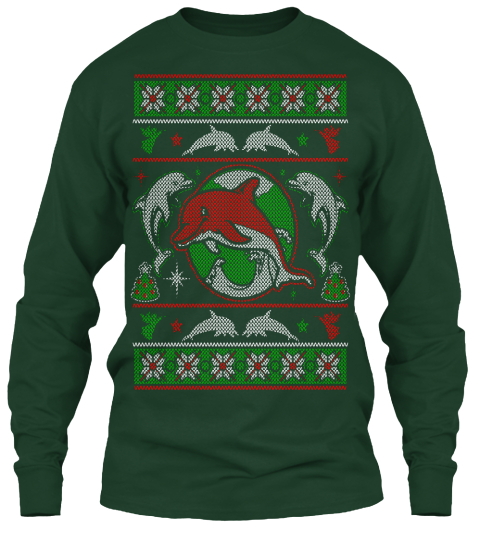 Dolphins   Christmas Forest Green Long Sleeve T-Shirt Front