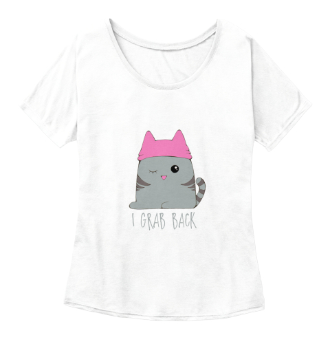 Grab Back Kitty Pink Hat#Be Bold For Change White  Women's T-Shirt Front