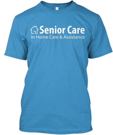 Light Blue Senior Care Heathered Bright Turquoise T-Shirt Front