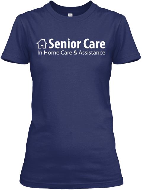Woman Boyfriend Tee Blue Senior Care Midnight Navy Women's T-Shirt Front