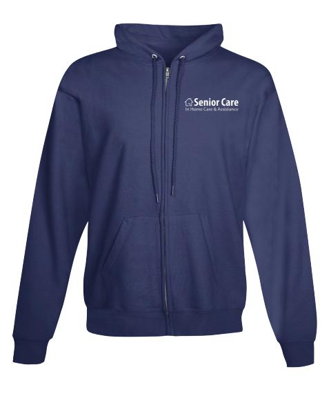 Blue Full Zip Hoodie Senior Care Navy Sweatshirt Front