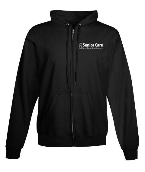 Black Full Zip Hoodie Senior Care Black Sweatshirt Front