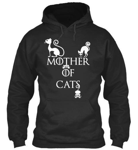 Mother Of Cats Jet Black Felpa Front