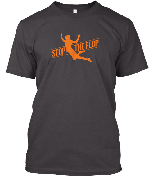 Stop The Flop Heathered Charcoal  T-Shirt Front