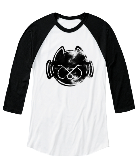 Feral Audio 2017 Gutter Cat T Shirt White/Black  Long Sleeve T-Shirt Front