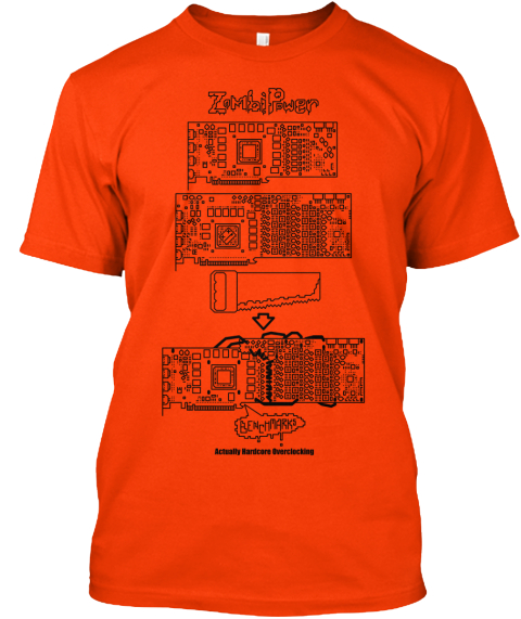 Zombipower Benchmario Actually Hardcore Clocking Orange T-Shirt Front