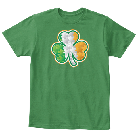 Autism   St. Patrick's Day   Kids Kelly Green  T-Shirt Front