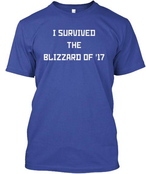 I Survived The Blizzard Of '17 T Shirt Deep Royal T-Shirt Front