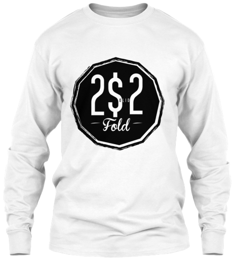 2 Solid 2 Fold White Long Sleeve T-Shirt Front