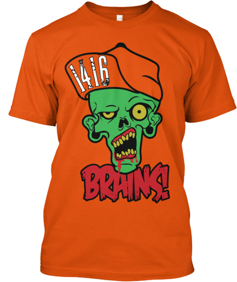 Zombie Brains!! Orange T-Shirt Front