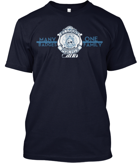 """Many Badges, One Family"" Slmpd Navy T-Shirt Front"