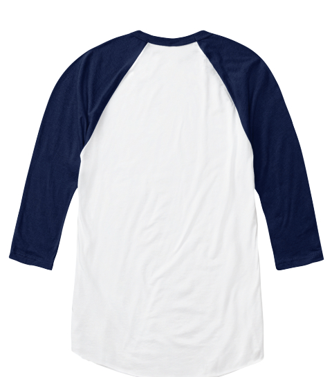 All You Need Is Less   Long Sleeve White/Navy Long Sleeve T-Shirt Back