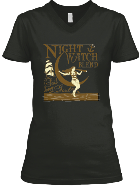 Sail Away Girl Night Watch Fund Raising Black T-Shirt Front