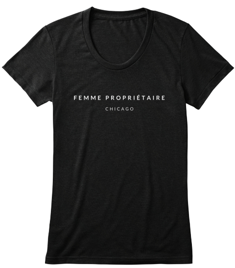 Femme Proprietaire Chicago Solid Black Vrouwen T-Shirt Front