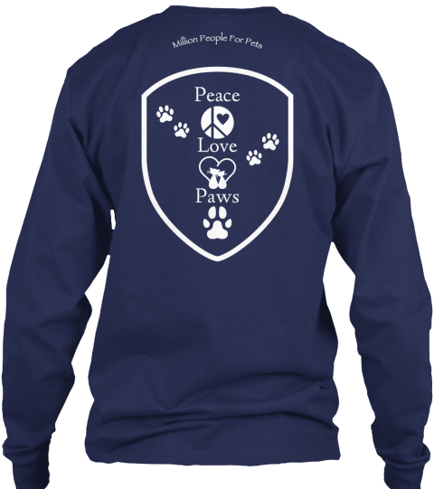Peace  Love  Paws Navy Long Sleeve T-Shirt Back