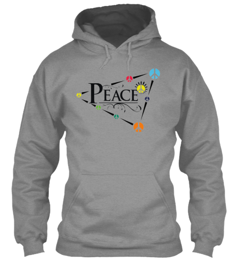Peace Unique Athletic Heather Sweater Lengan Panjang Front