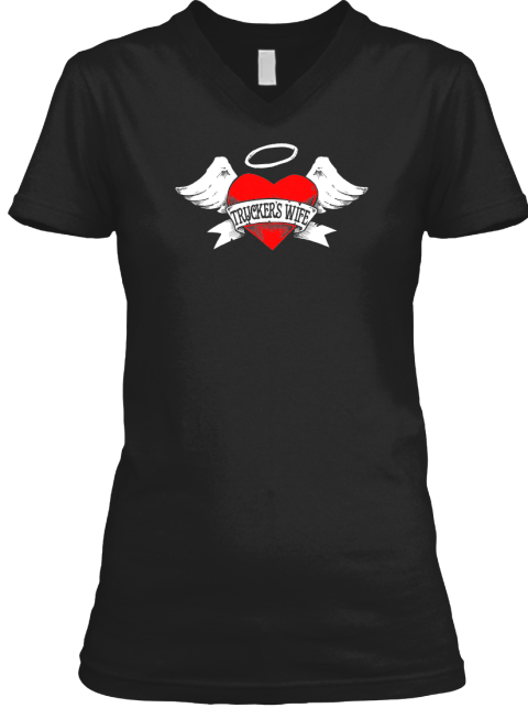 Trucker's Wife Angel   Limited Rerun Black T-Shirt Front
