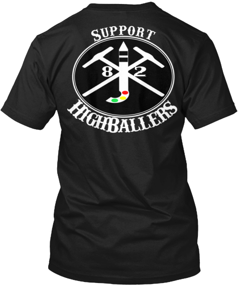 High Ballers And Love Water Support Black T-Shirt Back