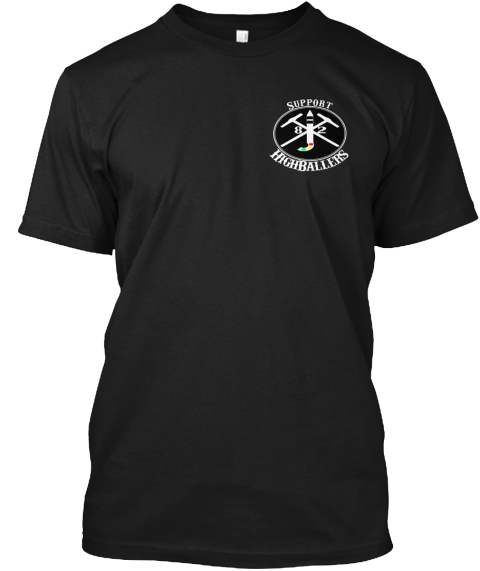High Ballers And Love Water Support Black T-Shirt Front
