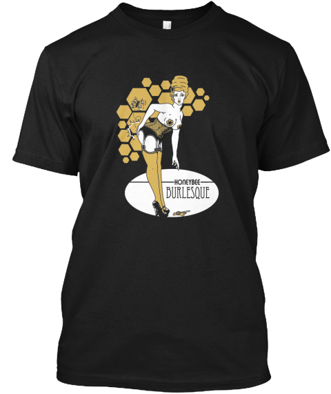 Honey Bee Burlesque   Happy Holidays! Black T-Shirt Front