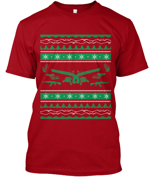 Xmas Guns Limited Edition Deep Red T-Shirt Front