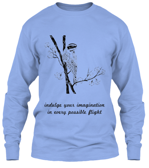 Indulge Your Imagination  In Every Possible Flight  Light Blue T-Shirt Front