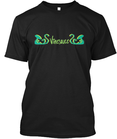Vinesauce Word And Vines Black T-Shirt Front
