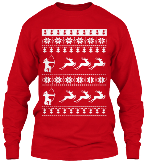 tacky christmas sweater redneck edition red long sleeve t shirt front - Redneck Christmas Sweaters