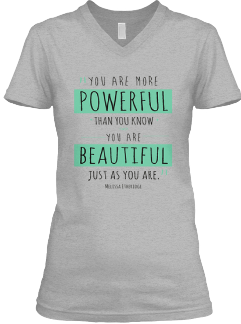 Powerful Beautiful Women Athletic Heather T-Shirt Front